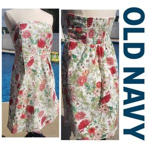 Old Navy floral strapless dress 97% cotton size 14